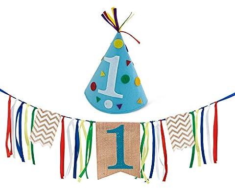 Boy First Birthday Decorations - 1st Birthday - Burlap Highchair Banner and Felt Hat Pack (1st Birthday Girl Pin)