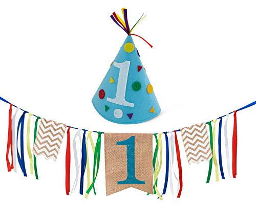Sterling James Co. Boy First Birthday Decorations - 1st Birthday - Burlap Highchair Banner and Felt Hat Pack ()