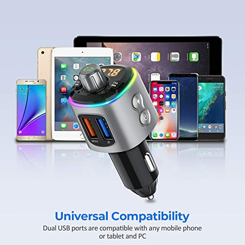 VicTsing RGB FM Transmitter Bluetooth 5.0, Bluetooth Car Transmitter with QC3.0 & 9 RGB Backlight, Car Radio Transmitter with Hands-Free Calls, Siri Assistant, Support USB Drive, TF Card Up to 64G