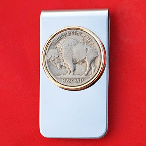 US 1913 ~ 38 Indian Head Buffalo Nickel 5 Cent Coin Gold Silver Two Toned Money Clip New (Indian Gold Coin)