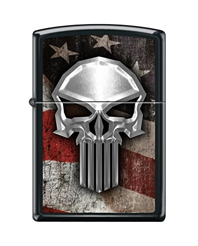 Zippo Custom Design Flag Skull Reg Blk Matte Windproof Collectible Lighter. Made in USA Limited Edition & Rare