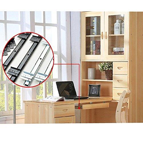 14 inch Desk Extension Computer Desk Keyboard Drawer Tray Slide Rail Rack Cupboard Wardrobe Drawer Slide Sliding Hardware Replace (Black) by OXSNice (Image #3)