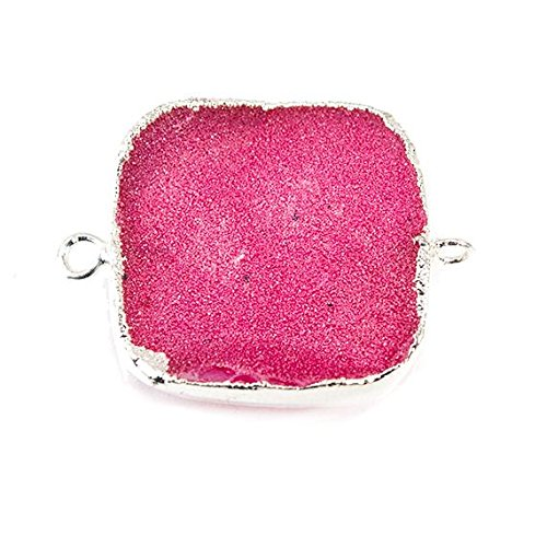 22mm Silver Leaf Hot Pink Drusy Square Connector 1 piece