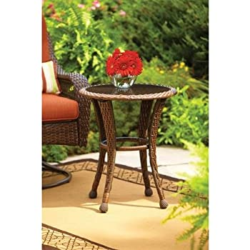 Better Homes and Gardens Azalea Ridge 20  Round Outdoor Side Table. Amazon com   Better Homes and Gardens Azalea Ridge 20  Wicker