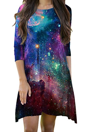 LaSuiveur Women's 3 4 Sleeve Galaxy Dress Loose Fit Casual Tunics ()