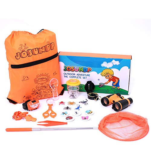 Josundp Outdoor Exploration Kids Kit Binoculars Compass Magnifying Glass Whistle Insects Backpack for Christmas Birthday Gift Camping Discovering Exploring Nature Hiking Education Set (Orange)