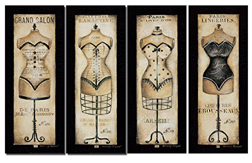 Paris Lingeries; Vintage Paris Bustier and Corset Ad Panels; Four 8X20 Prints - Paris Bustier