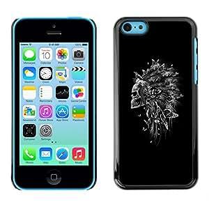 Be Good Phone Accessory // Dura Cáscara cubierta Protectora Caso Carcasa Funda de Protección para Apple Iphone 5C // Indian Feather Headdress Black Skull