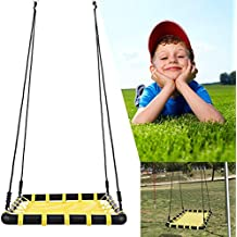 Mewalker Giant Outdoor Swing Web Swing Sets, Spider Web Platform Tree Swing Square Swing Kit with Adjustable Hanging Ropes for Children Adults, US STOCK (YELLOW)