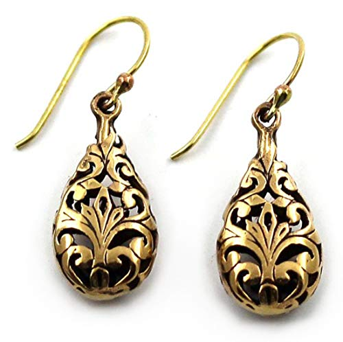 Bronze Vine Filigree Teardrop Shaped Drop Dangle Earrings Fish Hook Thailand Jewelry