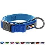 Pawtitas Adjustable Soft Reflective Padded Wide Pet Dog Collar Blue Extra Extra Small XXS 5/8 Inch