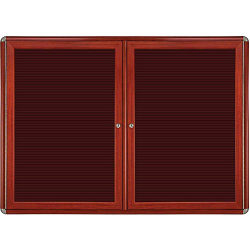 Ovation 2-Door Ovation Wood Look Felt Letter Board Size: 36'' H x 60'' W x 2.13'' D, Color: Chrome, Frame Finish: Cherry by Ghent
