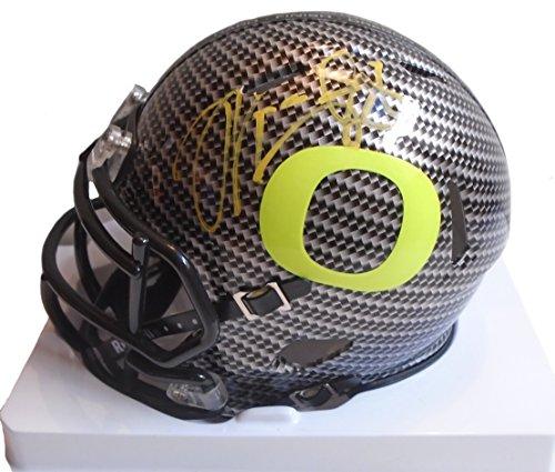 Signed Titans Mini Helmet (Oregon Ducks Marcus Mariota Autographed Hand Signed UO Carbon Fiber Riddell Mini Helmet with Proof Photo, Tennessee Titans, COA)