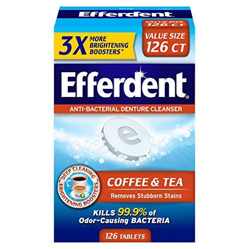 Efferdent Coffee & Tea Denture Cleanser | 126 Tablets (Best Denture Cleaner For Stains)