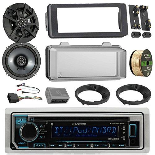 Kenwood KMRD372BT Marine Radio Stereo Receiver Bundle, 2x Kicker 6.5