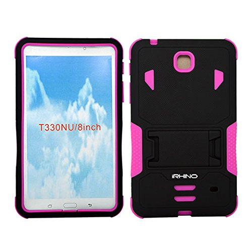[iRhino] TM BLACK-HOTPINK Heavy Duty rugged impact Hybrid Case cover with Build In Kickstand Protective Case For Samsung galaxy Tab 4 8.0 inch T330 Tablet