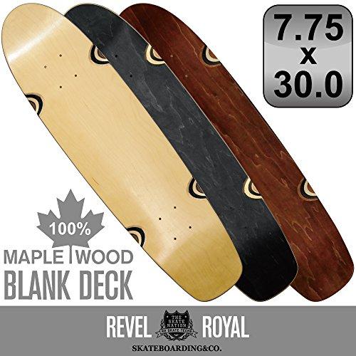 明らかに算術方法論REVEL ROYAL スケートボード エリート クルーザー ブランク 7.75インチ デッキ スケボー 木目 無地 ナチュラル ブラック ブラウン 100% メイプル