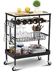 KINGRACK Wózek do przechowywania wyspa kuchenna z stojakiem na wino, wózek do serwowania z drewnianym blatem, 4-poziomowy wózek na kółkach z szufladą koszową zamykane kółka do domu, jadalni, restauracji, hotelu