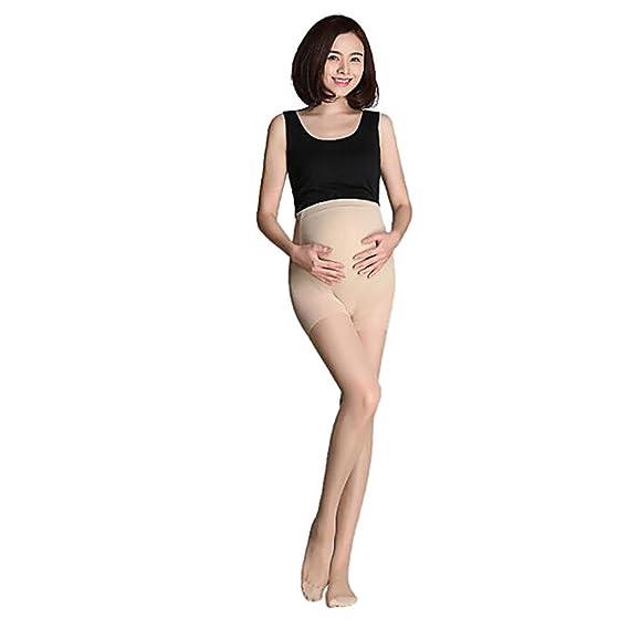 QinMM Medias Premamá Maternidad Pantys leggings pantimedias Embarazo Mujer ropa interior (Beige)