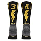 KitNSox Adult Youth Mid Calf Cushion Team Sports Number Socks Basketball Football Baseball Gold/Black