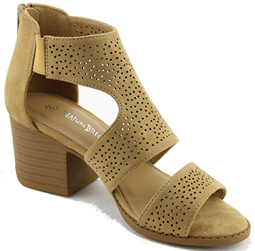 Leatherette Camel Perforated Breeze Office Dressy Heel Block Trendy Chunky Bootie Heel GG36 Suede Women Nature p4AnSzWEz
