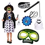 FUN LITTLE TOYS Kids Halloween Costumes with Ghost Cloak, Lantern, Bracelets, Glow Sticker Necklace, Glow Halloween Mask, Halloween Party Supplies, Party Favors for Kids