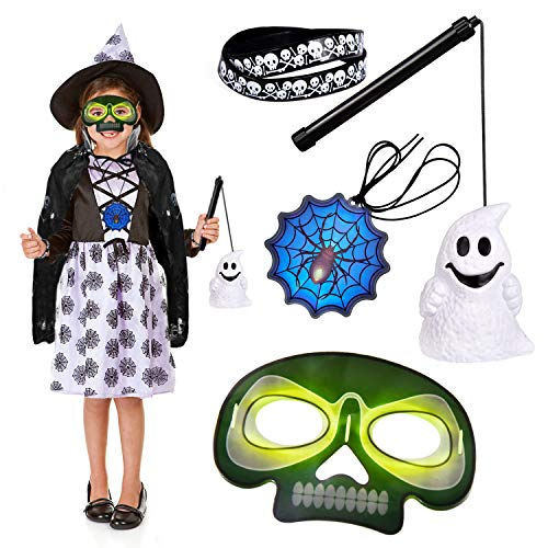(FUN LITTLE TOYS Kids Halloween Costumes with Ghost Cloak, Lantern, Bracelets, Glow Sticker Necklace, Glow Halloween Mask, Halloween Party Supplies, Party Favors for)