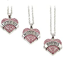 Elefan Cornelia Jewelry Crystal Pendant Necklace Set for Sisters Big Middle Little Sister (3 PCS)