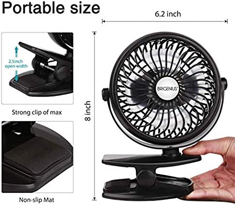 BRIGENIUS Battery Operated Clip on Stroller Fan Portable Mini Desk Fan with Rechargeable 2600mAh Battery/&USB Cable USB Powered Fan for Baby Stroller Office Outdoor Travel/