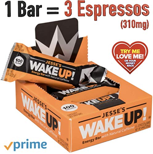Jesse's WakeUP Nutrition Energy Bars: Gluten Free Snack Bars with Natural Caffeine to Boost Energy, Mental Clarity, and Alertness - 100 Calorie Vegan Dark Chocolate and Rice Crisp Power Bar - 6 Pack