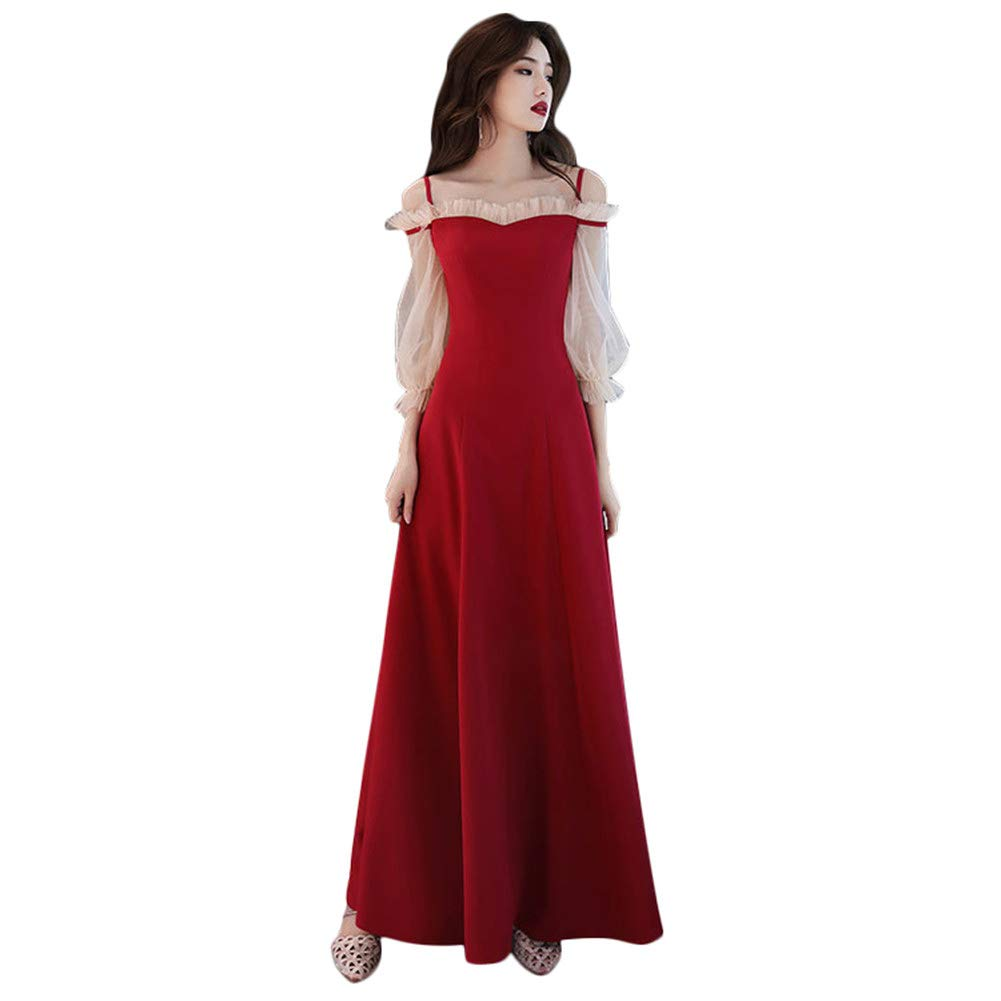 Drasawee Women's Puff Sleeve Long Formal Dress Off Shoulder Prom Dresses