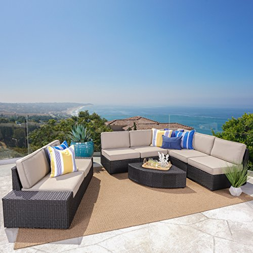Reddington Patio Furniture | Outdoor 8 Piece Dark Brown Wicker Sectional with Beige Water Resistant Cushions
