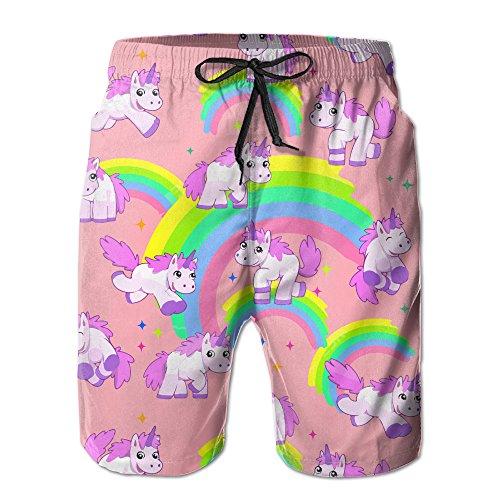 Surferio Mens Quick Dry Cute Colorful Rainbow Unicorn Beach Shorts Swim Trunks Beach Board Shorts L by Surferio