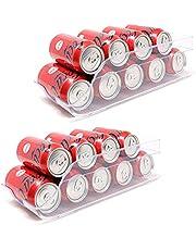 Set van 2 opbergdozen voor koelkast en vriezer Organisator van blikjes voor koelkast 35x14.5x10cm Doorzichtige plastic voedselcontainers voor koelkastorganisator Gemaakt in Spanje