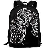 OIlXKV Polynesian Maori Wolf Print Custom Casual School Bag Backpack Multipurpose Travel Daypack For Adult