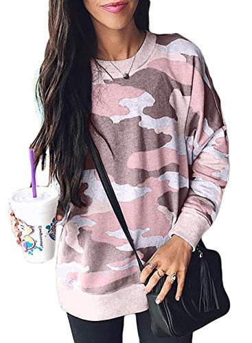 Malaven Women Camo Print Long Sleeve Crew Neck Loose Fit Casual Sweatshirt Pullover Tops Shirts