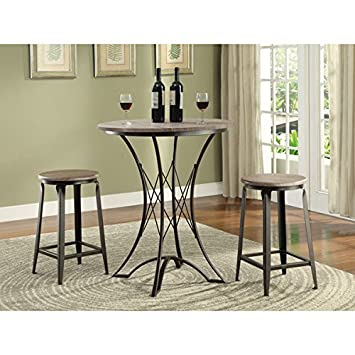 Black 3 Piece Bar Height Dining Set, Includes Round Bar Table And 2 Bar