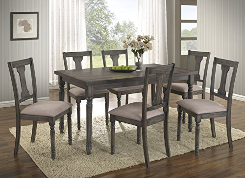 Roundhill Furniture T402-C402-C402-C402 Ashton 7-Piece Wood Dining Set: Table and Six Chairs, Brown ()