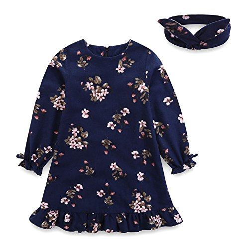 Comfybuy Baby Teen Girls Casual Floral Princess Dress Headband Set Long Sleeves Blue 6-7T (Photos Outfits Family Christmas)