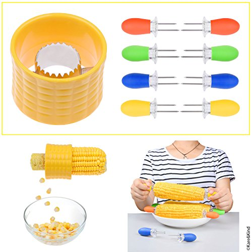 (1x Corn Stripping Tool and 4x Corn Holder Pins - Corn on the Cob Grips with Interlocking Design for Safety and Storage - Perfect for Salads, BBQ, etc. (Corn Stripping)