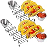 Taco Truck 4 Pack Taco Holder Stands With Dip Cup | Food-grade Stainless Steel | Oven Safe, Dishwasher Safe | Taco Truck Restaurant Style Racks