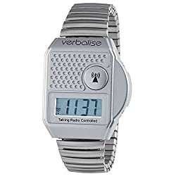 Verbalise Top Button Digital Radio Controlled Talking Watch 5 Alarms (Silver)