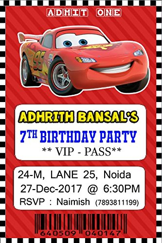 WoW Party Studio Personalized Disney McQueen Car Theme Birthday Invitation With Kid Name MultiColour