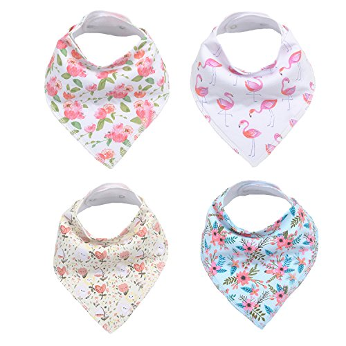 Price comparison product image Baby Girl Bandana Drool Bibs for Drooling and Teething, 100% Organic Cotton , Soft and Absorbent (4)