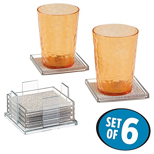 mDesign Square Drink Coasters (Set of 6) - Metallic/Clear