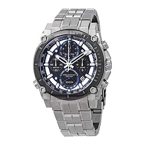 Men's Bulova Precisionist Chronograph Black Carbon Fiber Dial Bracelet Watch ()