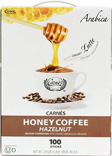 Premium Coffee Sticks - Carnes Premium Hazelnut Instant Coffee Mix with Honey Powder 100 Sticks