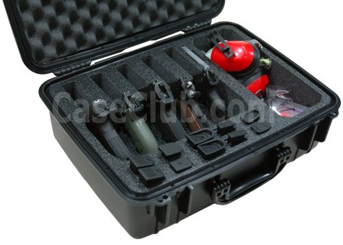 Multi Pistol Case - Case Club Waterproof 5 Pistol Case & Accessory Pocket with Silica Gel