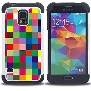 "Hypernova Híbrido Heavy Duty armadura cubierta silicona prueba golpes Funda caso resistente Para SAMSUNG Galaxy S5 V / i9600 / SM-G900 [Cuadros Textura Colores vibrantes""]"