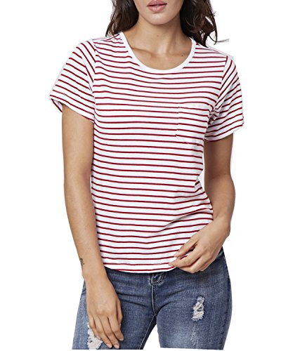 (Women's Casual Stripe Long Sleeve Casual Loose Top T-Shirt(Red,L))
